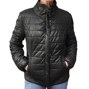 SOYA CONCEPT Black Quilted Faux Leather Puffer M